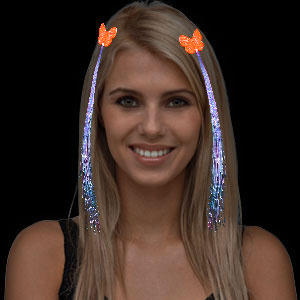 LED Fiber Optic Hair Clips - Orange