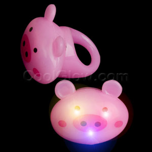LED Jelly Pig Rings - Pink