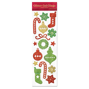 Christmas Icons Glitter Gel Clings- 19 Inch