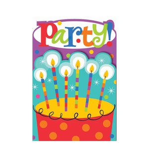 Birthday Dots and Stripes Invitations- 8ct
