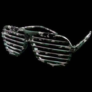 Camouflage Shutter Shade Slotted Eye Glasses