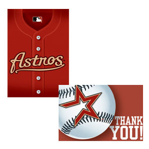 Houston Astros Invitations and Thank You Cards Set- 16ct