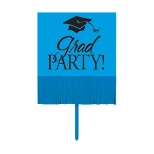 Grad Fringe Yard Sign - Blue