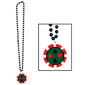 Beads with Poker Chip Medallion- 36in