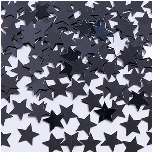 Metallic Star Confetti- Black 0.5oz.