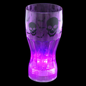 LED Halloween Cup - 12 oz. Purple Skulls