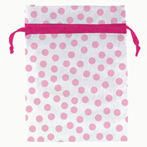 Baby Shower Organza Favor Bags - Pink Dots