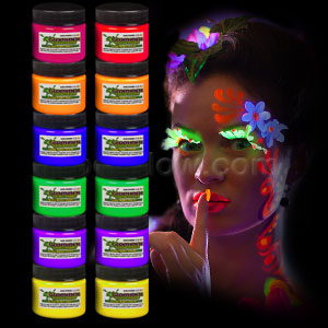 Glominex Glow Body Paint 1oz Jars - Assorted 12ct