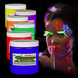 Glominex Glow Body Paint 8oz Jars - Assorted