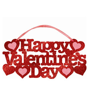 Valentine's Day Large Glitter Sign