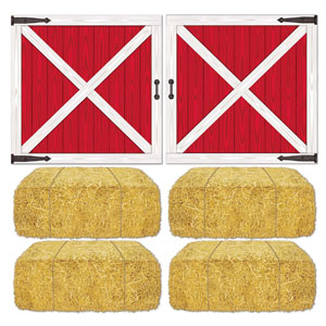 Barn Loft Door and Hay Bale Props- 6pc