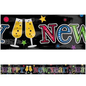Foil New Years Banner - Jewel Tones 9ft