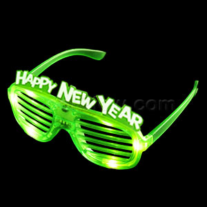 LED New Year Shutter Slotted Shades - Green