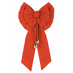 Red Holiday Bow with Bells- 27 Inch