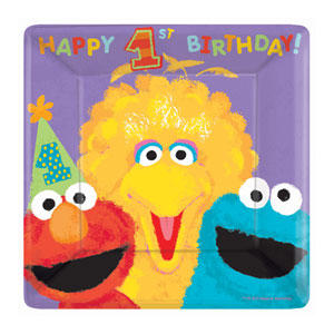 Sesame Street's 1st Birthday Dinner Plates - 18ct