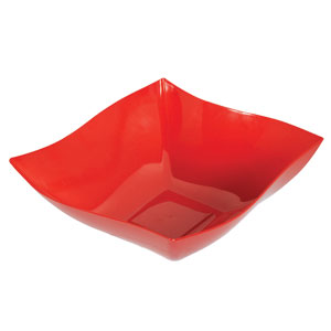 Red 12 Inch Wavy Square Bowl