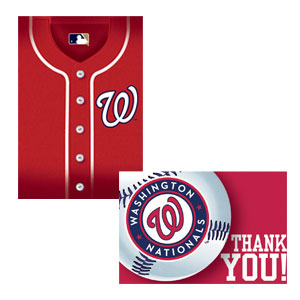 Washington Nationals Invitations and Thank You Cards Set- 16ct