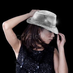LED Sequin Fedora - Silver