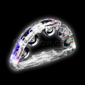 Fun Central G232 LED Light Up Tambourine 8 Inch - Clear