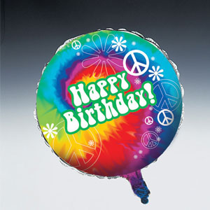 Tie Dye Fun Happy Birthday Metallic Balloon