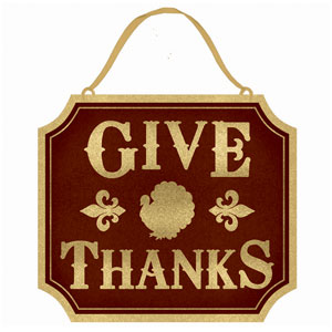 Glitter Give Thanks Sign- 13 Inch