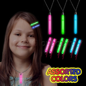 Glow Hair Pins and Pendant Necklace Set - Assorted