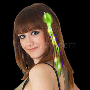 LED Ribbon Hair Extension - Green Yellow Purple