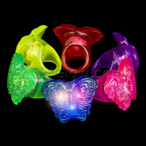 Fun Central AC808 LED Light Up Jelly Butterfly Rings - Assorted