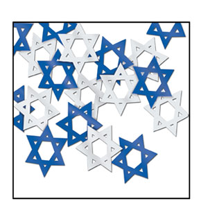 Star Of David Confetti Blue and Silver