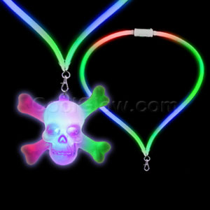 Fun Central G754 LED Light Up Flashing Lanyard - Skull and Crossbones