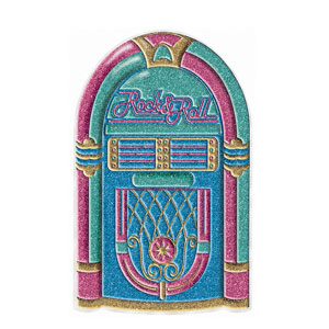 Rock 'N Roll Jukebox 3-D Glitter Decoration- 20in