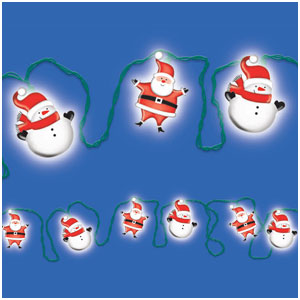 Snowmen and Santa Lantern Electric Light Set- 14ft