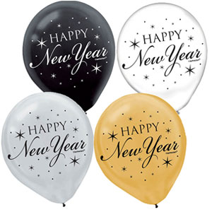 Black Silver & Gold New Year's Balloon