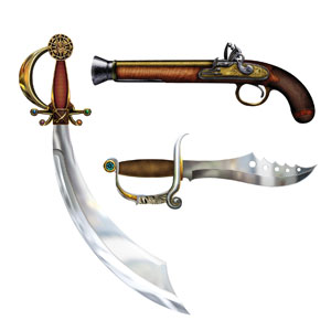 Pirate Weapon Cutouts - 3ct