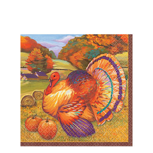 Festive Turkey Luncheon Napkins- 16ct