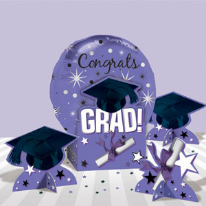 Graduation Purple Balloon Centerpiece- 5pc