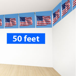 Waving Flags Border Roll - 50ft.
