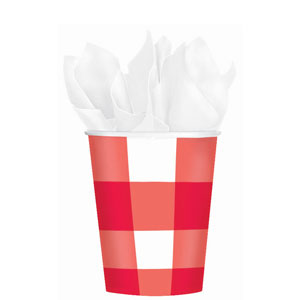American Red Gingham 9 oz. Cups - 8ct