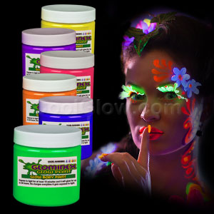 Glominex Glow Body Paint 4oz Jars - Assorted