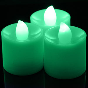 Fun Central I526 LED Light Up Tea Light Candles Green
