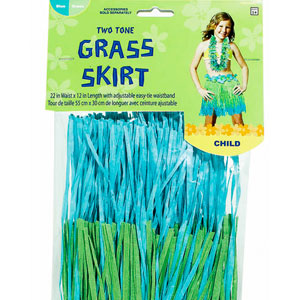 Child Two-Tone Hula Skirt- Cool