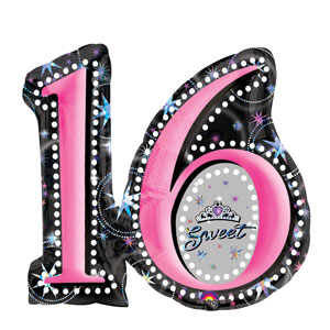 Sweet Sixteen Shape Balloon- 26in