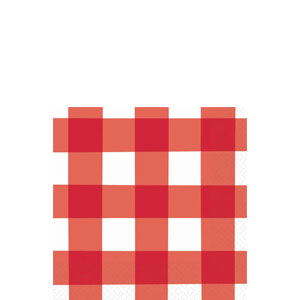 American Red Gingham Beverage Napkins - 16ct
