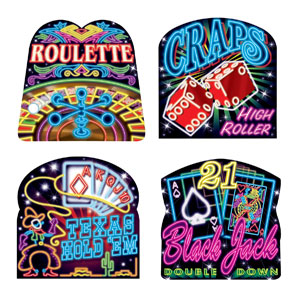 Neon Casino Cutouts- 4pc