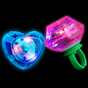 LED Jumbo Gem Rings - Assorted