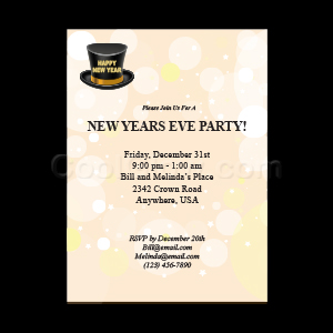 Gold Top Hat - Custom Invitations