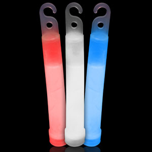 6 Inch Premium Glow Sticks - Assorted Red-White-Blue