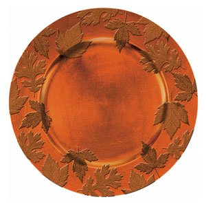 Orange Round Embossed Charger- 14 Inch