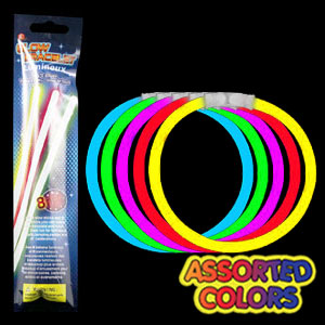 Fun Central X538 8 Inch Retail Packaged Glow in the Dark Bracelets - Assorted