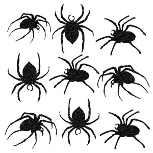 Glitter Spider Cutouts- 9ct
